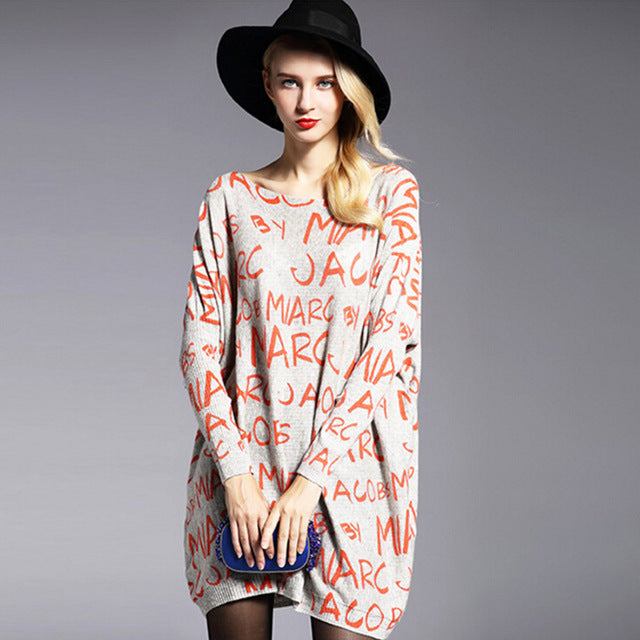 Letter Print Long Sleeve Sweater Dress - Holjaz Chic Boutique