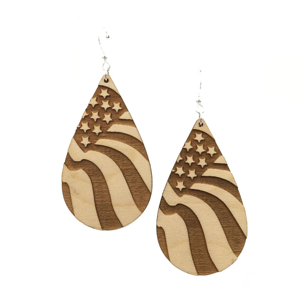 American Flag Teardrop Maple Earrings - graceandwoodco
