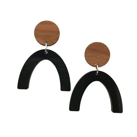 Cherry Wood and Black Acrylic Celluloid Arch Dangle Stud Earrings - graceandwoodco