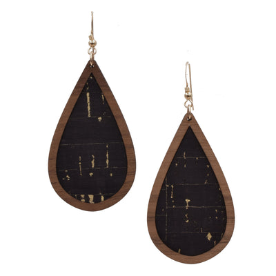 Black with Gold Flecks Wood + Cork Teardrop - Grace and Wood Co.