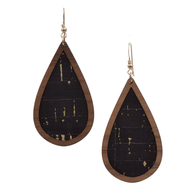 Black with Gold Flecks Wood + Cork Teardrop - graceandwoodco