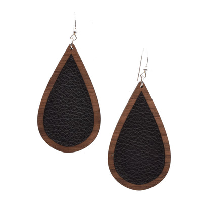 Black Wood + Leather Teardrop - graceandwoodco