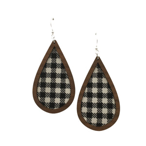 Black and White Gingham Wood + Fabric Teardrop Earrings - graceandwoodco