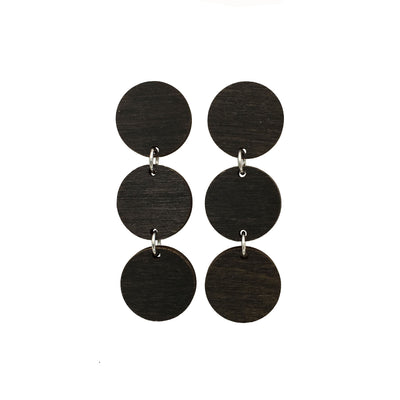Black Maple Triple Circle Dangle Studs - Grace and Wood Co.