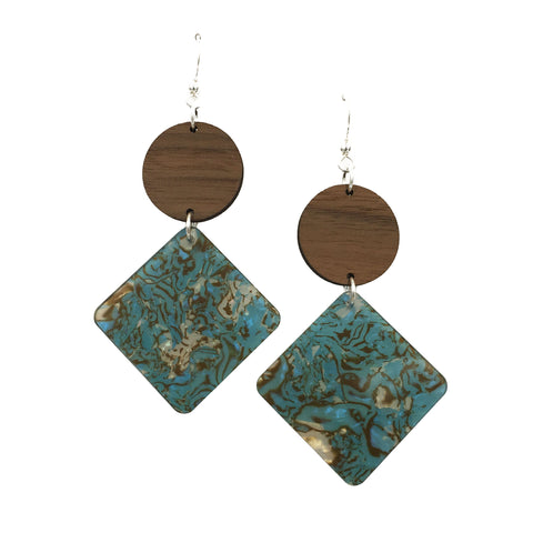 Walnut Wood Circle and Blue Brown Acrylic Celluloid Diamond Hinged Earrings - graceandwoodco