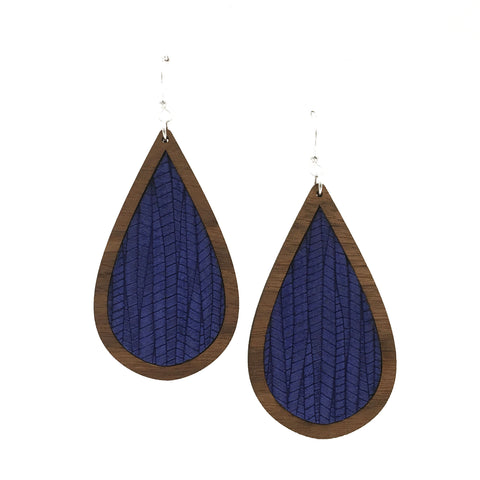 Blue Wave Wood + Leather Teardrop Earrings - graceandwoodco