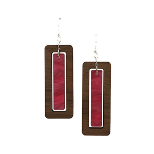 Walnut Wood Rectangle and Bubblegum Pink Acrylic Celluloid Hinged Earrings - graceandwoodco