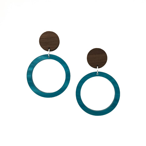 Walnut Wood and Cerulean Blue Acrylic Celluloid Hollow Circle Dangle Stud Earrings - graceandwoodco