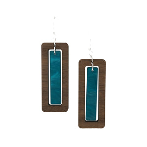 Walnut Wood Rectangle and Cerulean Blue Acrylic Celluloid Hinged Earrings - graceandwoodco