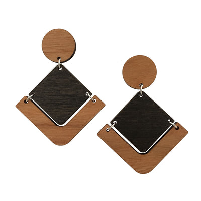 Cherry Black Maple Geometric Dangle Studs - Grace and Wood Co.