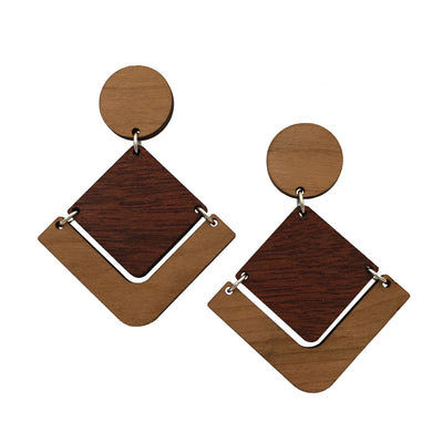 Cherry Bloodwood Geometric Dangle Studs - Grace and Wood Co.