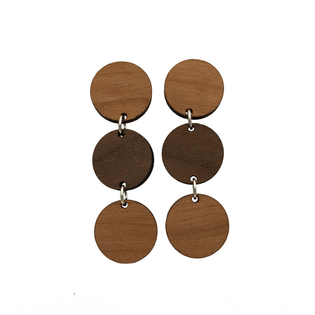 Cherry Walnut Triple Circle Dangle Studs - graceandwoodco