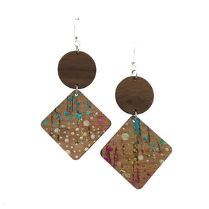Walnut Wood Circle and Confetti Cork Diamond Hinged Earrings - graceandwoodco