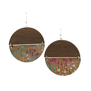 Walnut Wood and Confetti Cork Disc Hinged Earrings - graceandwoodco
