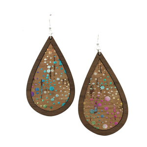 Confetti Wood + Cork Teardrop Earrings - graceandwoodco
