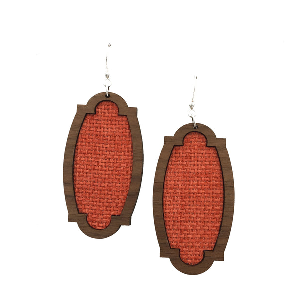 Coral Wood + Fabric Heirloom Earrings