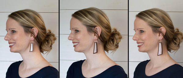 White Wood+Leather Flare Earrings - Grace and Wood Co.