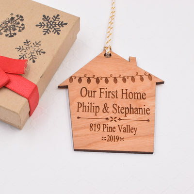 Our First Home Personalized Wood Ornament - Grace and Wood Co.