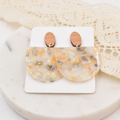 Golden Shimmer Half Circle Wood Acrylic Dangle Stud - Grace and Wood Co.