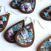 Purple Patchwork Wood + Leather Teardrop Earrings - Grace and Wood Co.