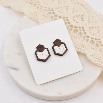 White Wood + Cork Hexagon Studs - Grace and Wood Co.