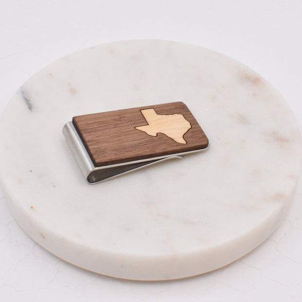 Walnut with Maple Texas Money Clip - Grace and Wood Co.