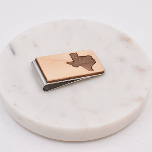 Maple with Walnut Texas Money Clip - Grace and Wood Co.