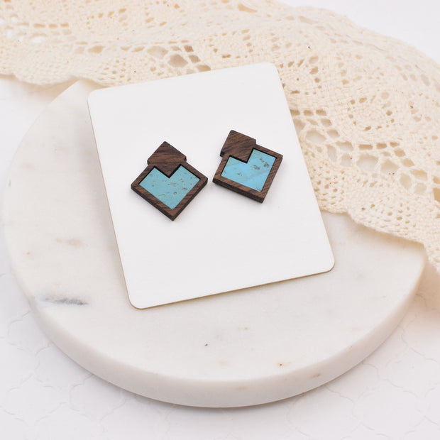 Ocean Blue Wood + Cork Diamond Studs - Grace and Wood Co.