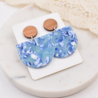 Ocean Waves Half Circle Wood Acrylic Dangle Stud