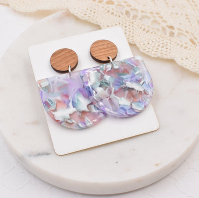 Spring Pastels Half Circle Wood Acrylic Dangle Stud - Grace and Wood Co.