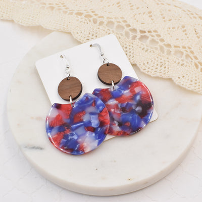 Red White and Blue Acrylic Hinged Circle - Grace and Wood Co.