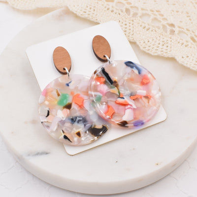 Spring Medley Wood Acrylic Dangle Stud - Grace and Wood Co.