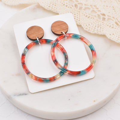 Teal Orange Hoop Wood Acrylic Dangle Stud - Grace and Wood Co.
