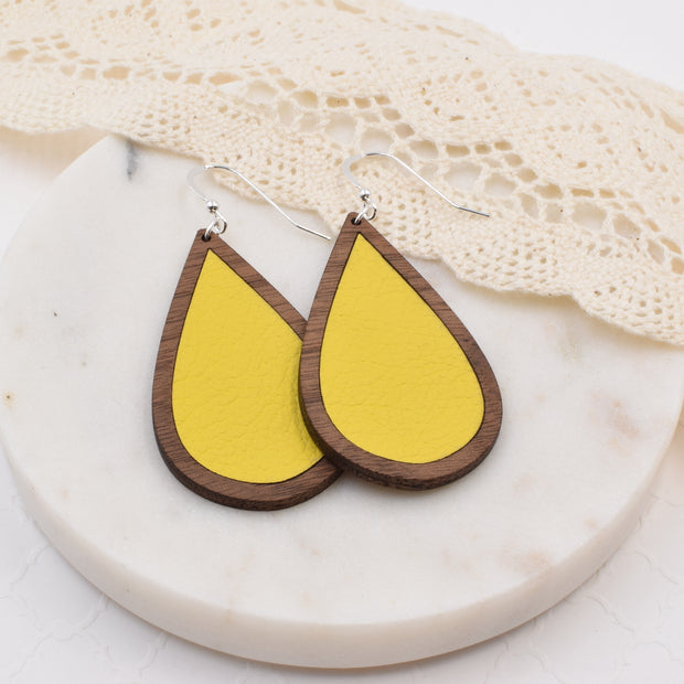 Yellow Wood + Leather Teardrop Earrings - Grace and Wood Co.