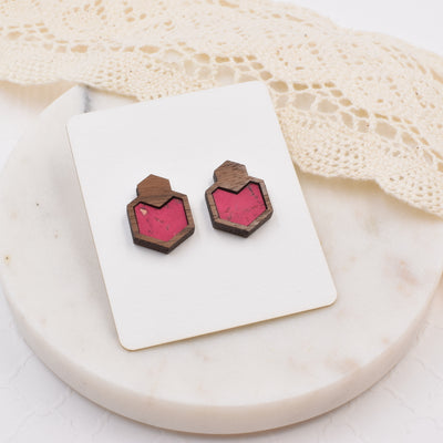 Pink Wood + Cork Hexagon Studs - Grace and Wood Co.