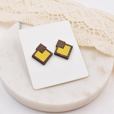 Yellow Wood + Leather Diamond Studs - Grace and Wood Co.