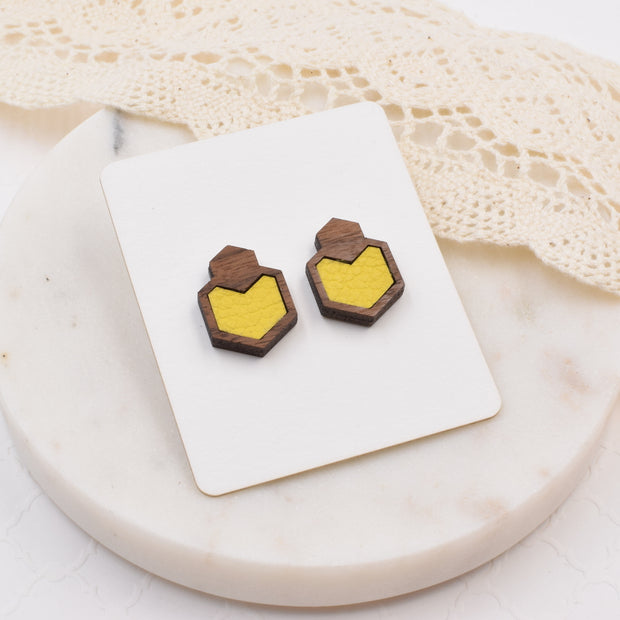 Yellow Wood + Leather Hexagon Studs - Grace and Wood Co.