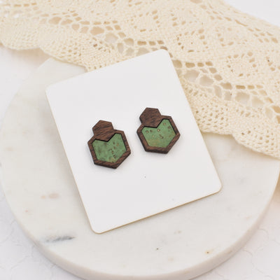 Cactus Wood + Cork Hexagon Studs - Grace and Wood Co.