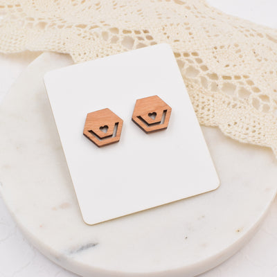 Minimalist Hexagon Studs - Grace and Wood Co.