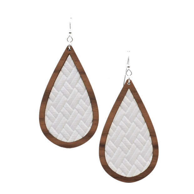 Textured White Wood + Leather Teardrop