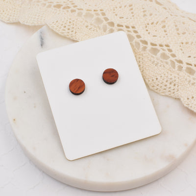 Padauk Circle Studs - Grace and Wood Co.