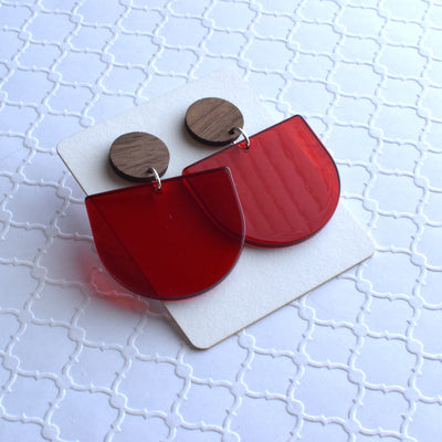 Red Translucent Half Circle Wood Acrylic Dangle Stud - Grace and Wood Co.