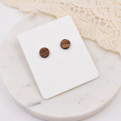 Zebrawood Circle Studs - Grace and Wood Co.