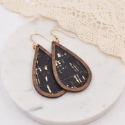 Black with Gold Flecks Wood + Cork Teardrop