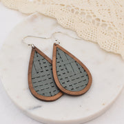 Grey Basket Weave Wood + Leather Teardrop