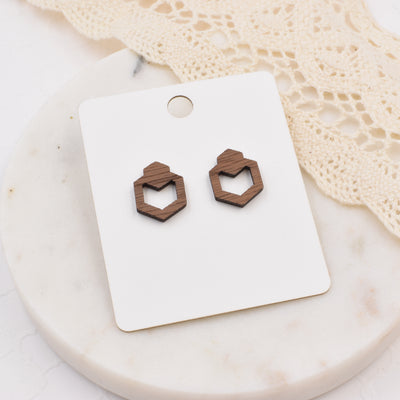 Geometric Hexagon Studs