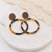 Tortoise Hoop Wood Acrylic Dangle Stud