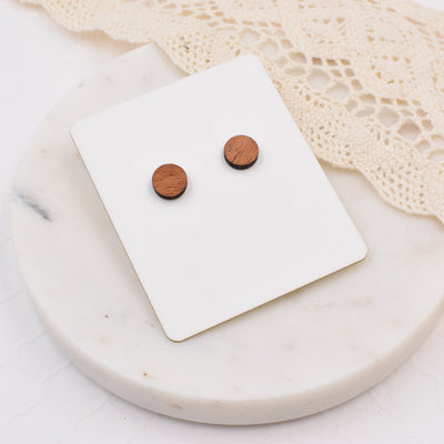 Mahogany Circle Studs - Grace and Wood Co.