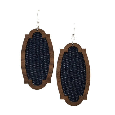 Denim Wood + Fabric Heirloom Earrings - graceandwoodco
