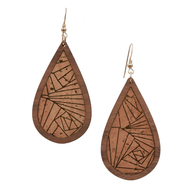 Gold Geo Wood + Cork Teardrop - graceandwoodco